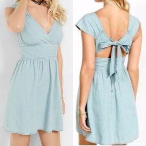Express Tie Open Back Denim Dress